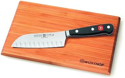 "Wüsthof Classic 5"" Hollow Edge Santoku Knife with Cutting Board"
