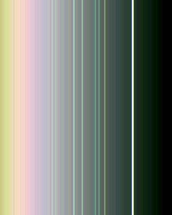 A false-color image of Uranus' rings, captured by Voyager in 1986