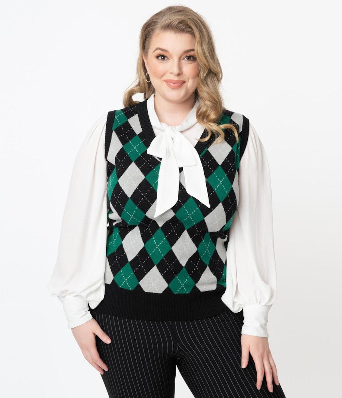 Unique Vintage Plus Size Green & Grey Argyle Plaid Brando Sweater Vest