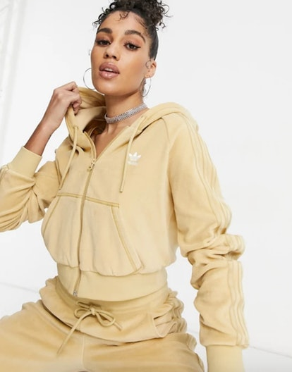 'Relaxed Risqué' Velour Zip Through Hoodie in Beige