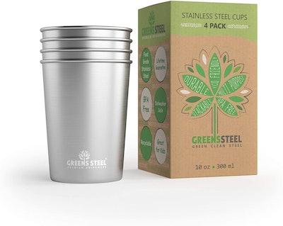 Greens Steel Stainless Steel Cups, 10 Oz. (4-Pack)