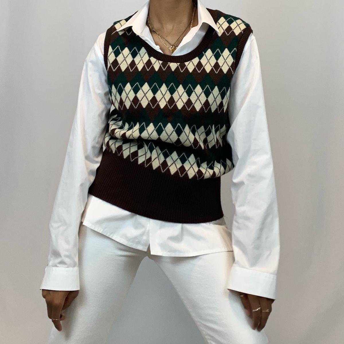 AutumnCTR Vintage Brown, Green, & Beige Knit Sweater Vest