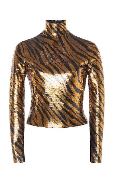 Sequined Zebra Print Top