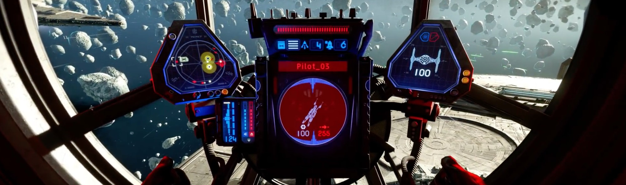 A pilot controls display in Star Wars: Squadrons