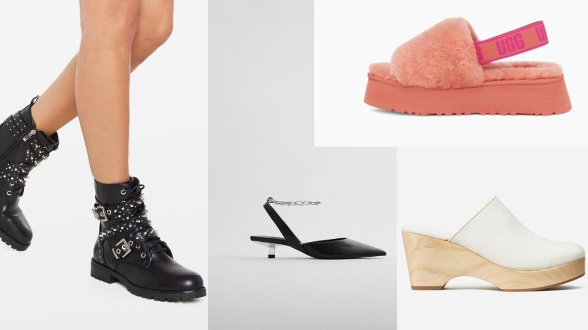 Images of different 2021 shoe trends.