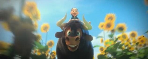 A cartoon bull with a girl on his back runs through a field of sunflowers
