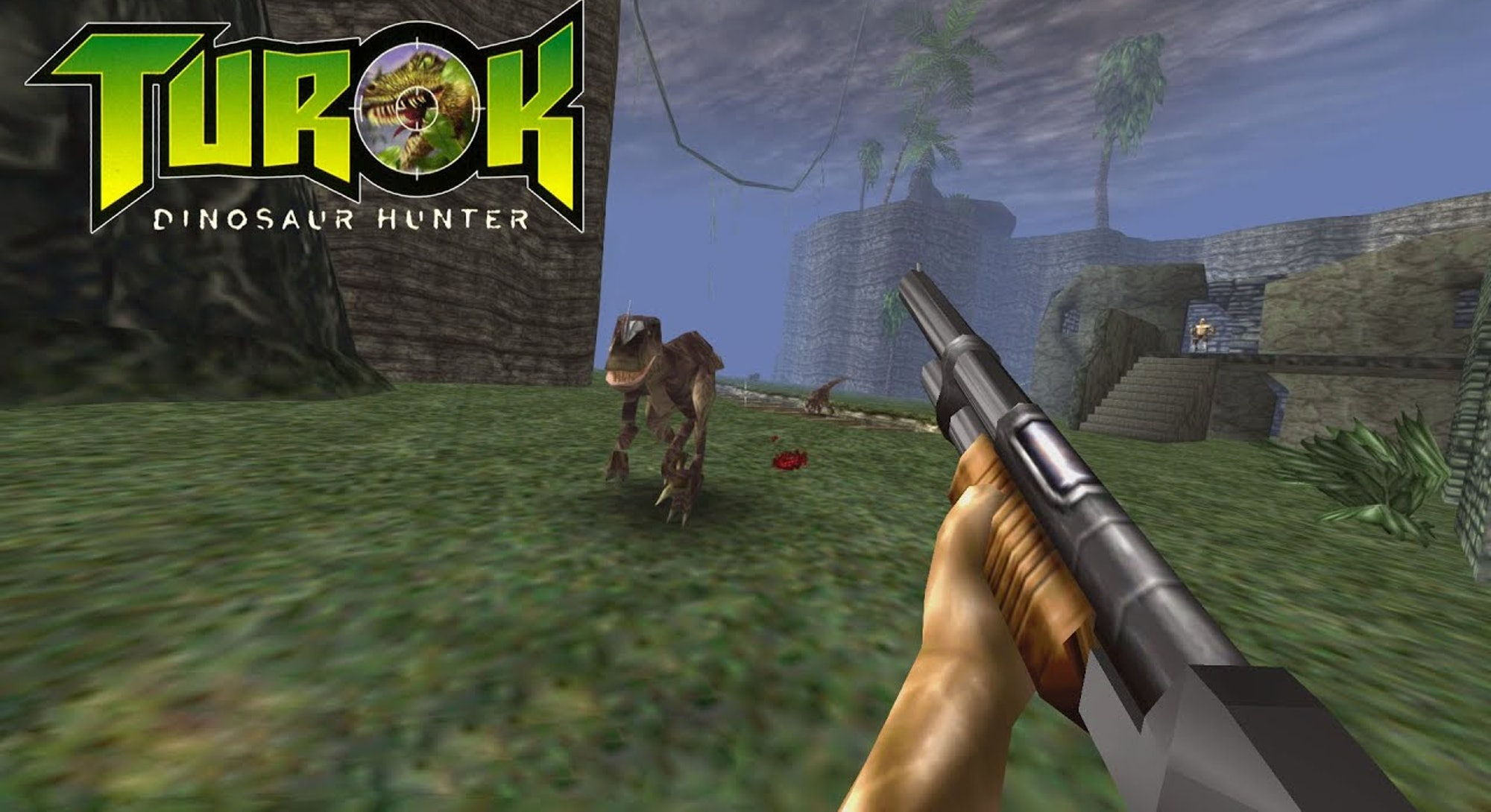 A screenshot from a game in the Turok franchise, a first-person shooter that was originally released on the Nintendo 64.