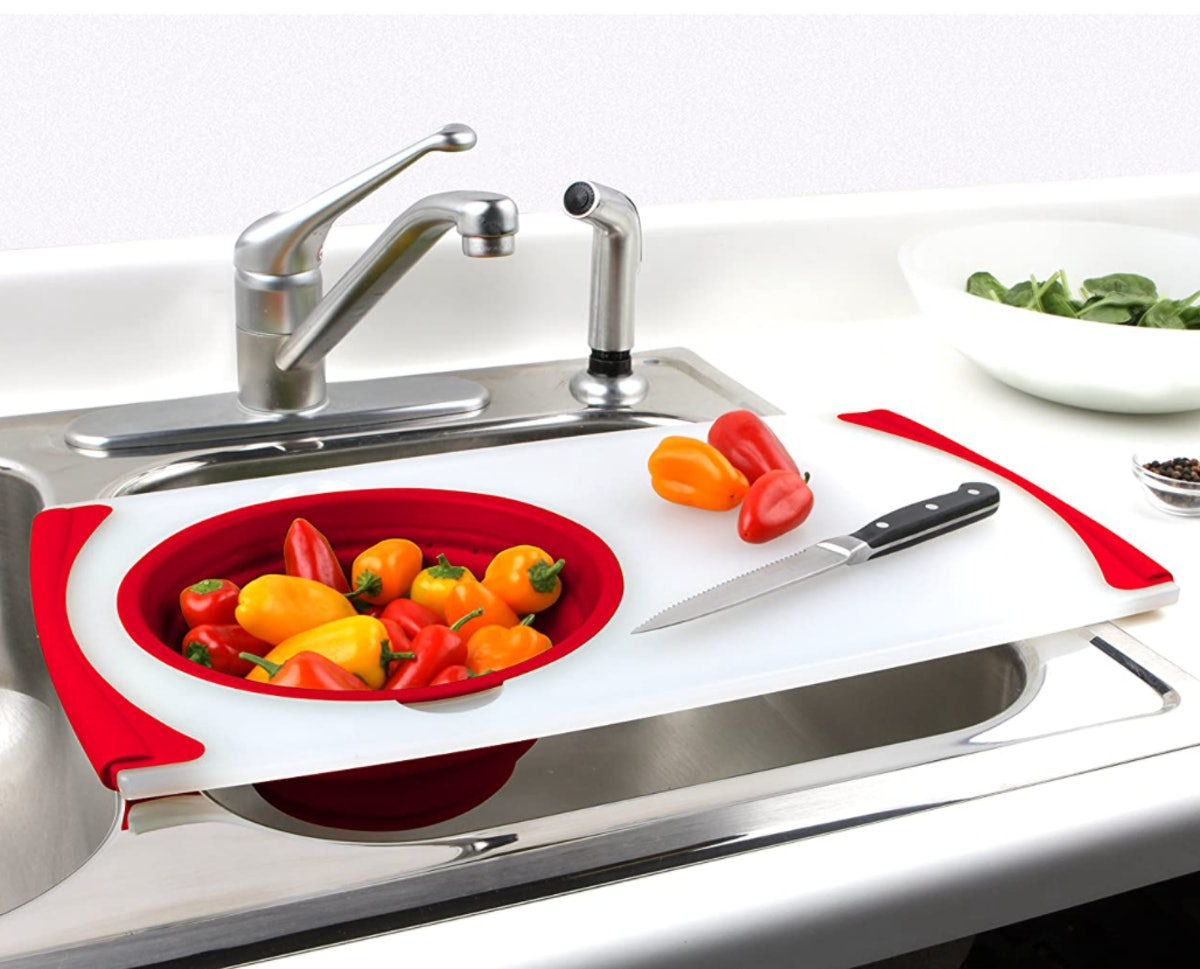 Dexas Over-the-Sink Strainer Cutting Board