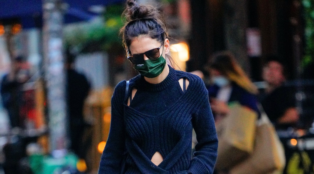 Katie Holmes wore another oversized bag in New York City in December