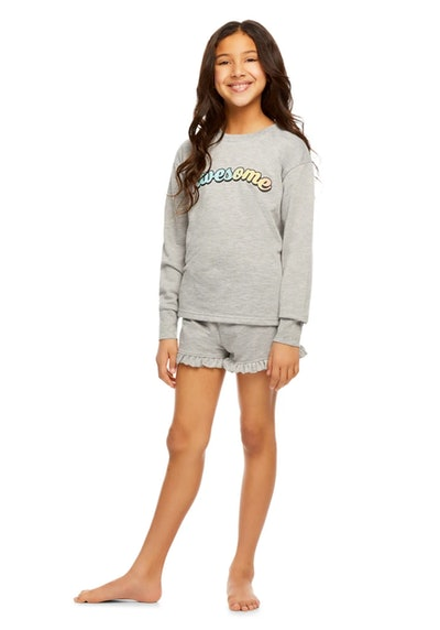 Girls Knit Two-Piece Pajamas, Long Sleeves & Shorts Set