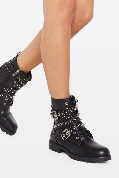 Nasty Gal Looks Stud on You Biker Boots