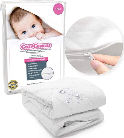 COZYCUDDLES Premium Zippered Quilted Waterproof Crib Protector Cover