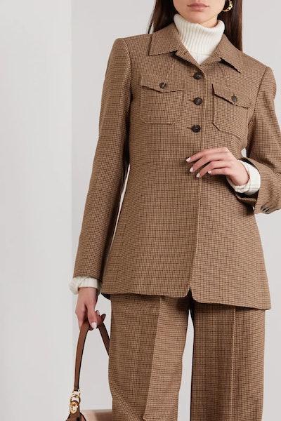 Houndstooth Wool-Tweed Jacket