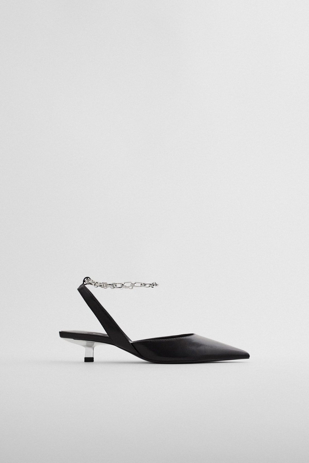 Slingback Kitten Heel Shoes with Chain
