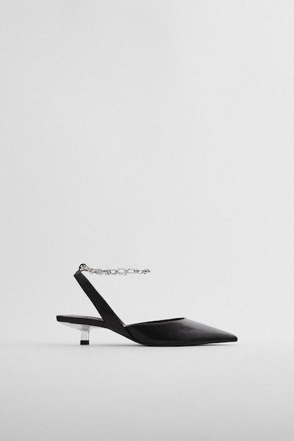 Zara Slingback Kitten Heel Shoes with Chain