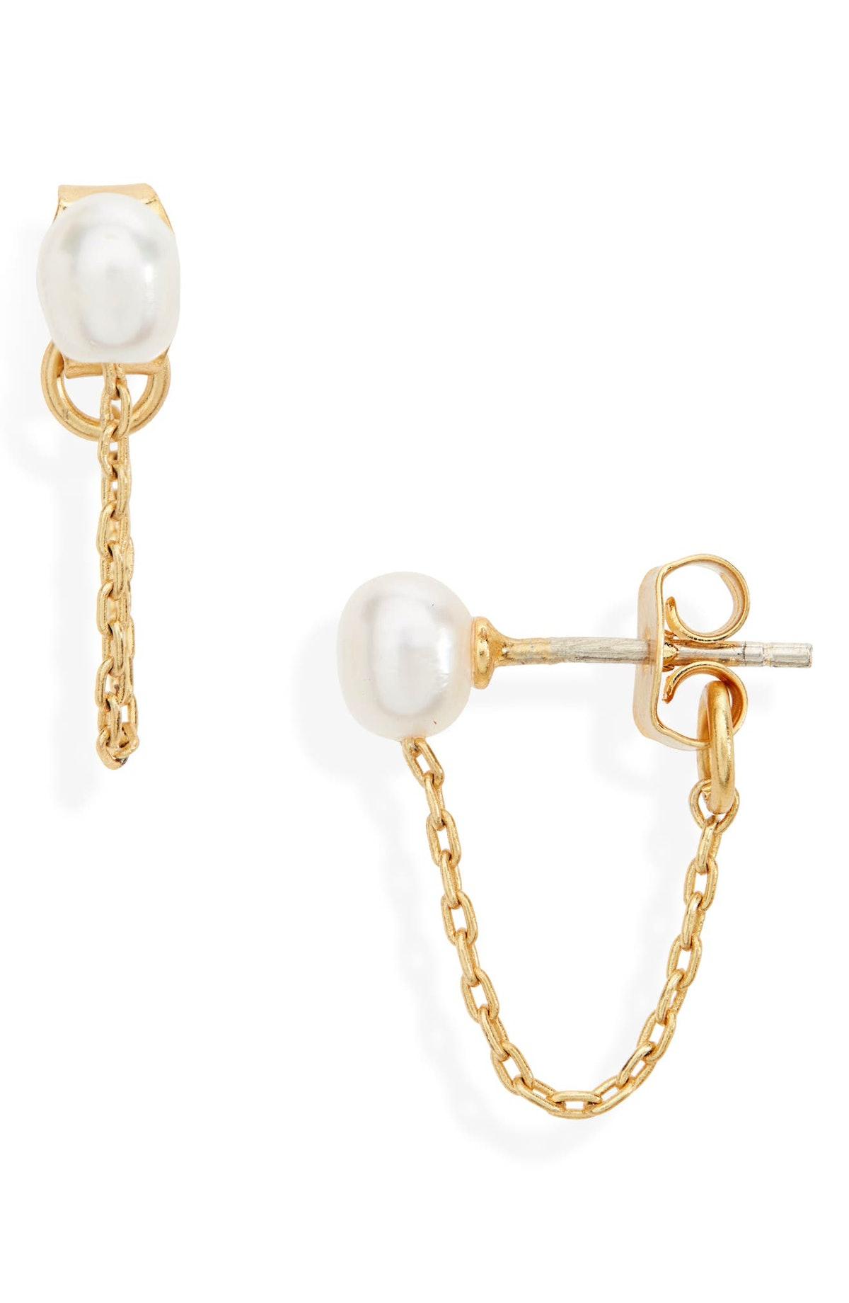 Madewell Freshwater Pearl Chain Stud Earrings