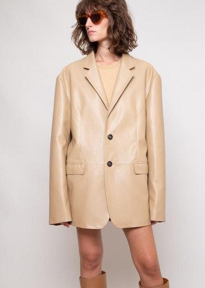 Oversized Faux Leather Blazer