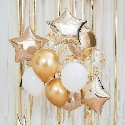 Ginger Ray Metallic Gold & White Balloon Bouquet