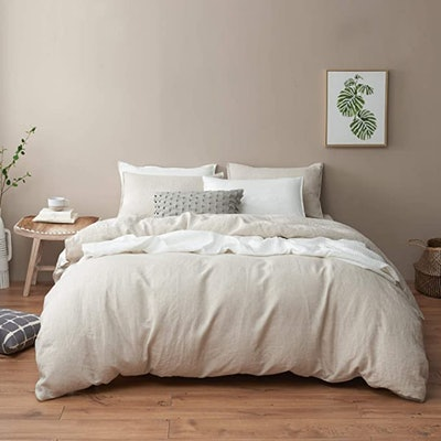 DAPU Stone Washed Linen Duvet Cover, 3 Pieces (Full/Queen)