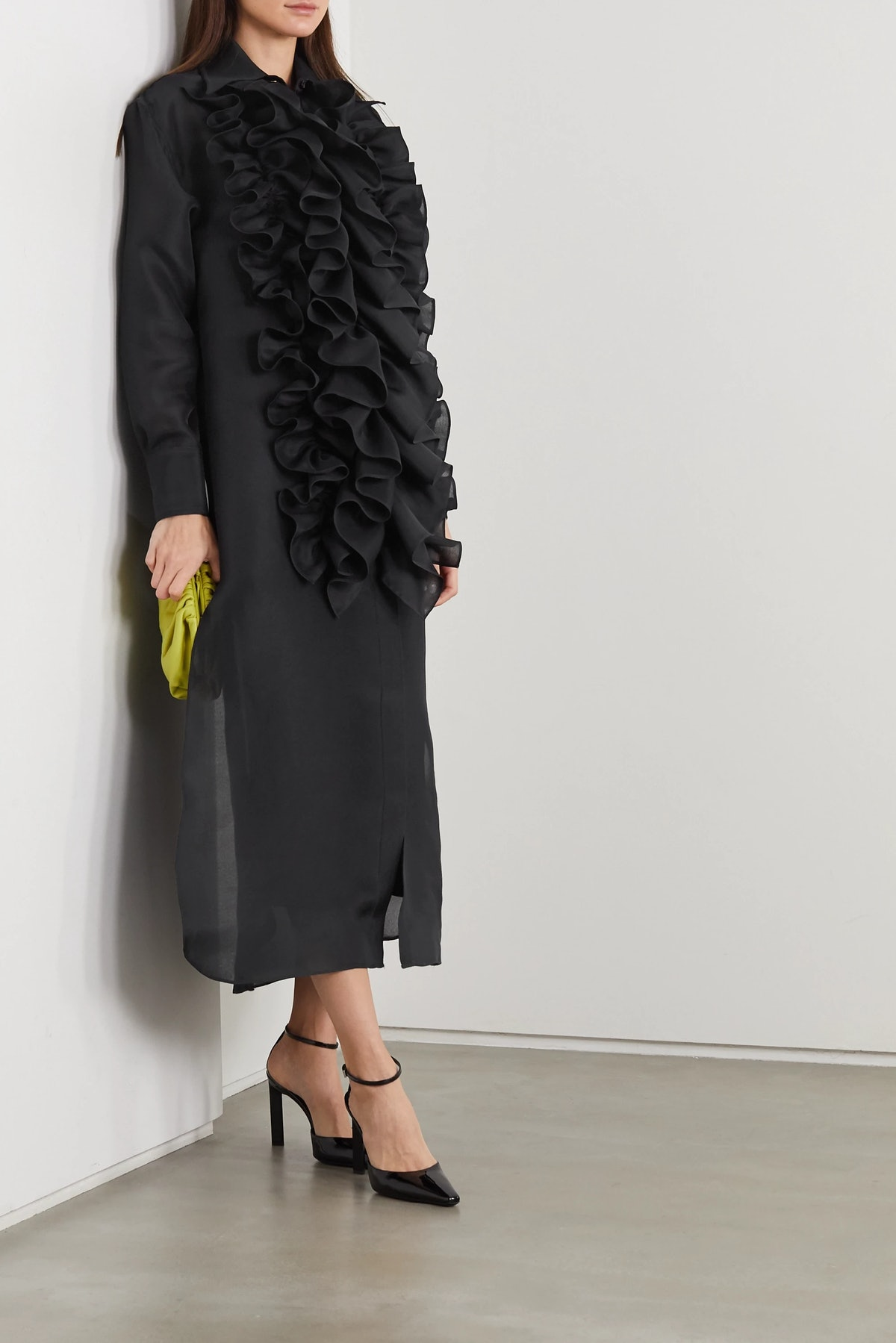 Ruffled Silk-Organza Midi Shirt Dress