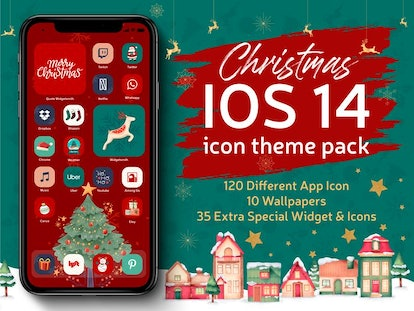Illustrated Red & Green Xmas iOS 14 Home Screen Design Pack
