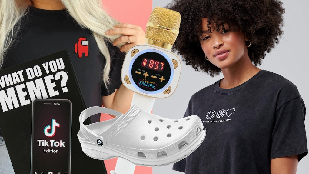 A TikTok-inspired gift guide consists of white crocs, a karaoke microphone, and a collaboration tee from Hollister Co. with Charli and Dixie D'Amelio.
