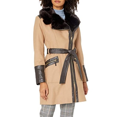 VIA SPIGA Belted Zip-Front Coat with Faux-Fur Collar