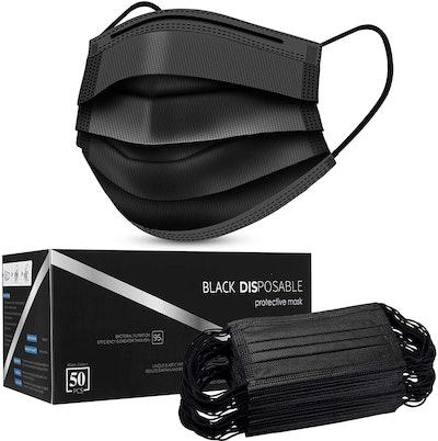 SUDILO Black Disposable Face Masks (50-Pack)