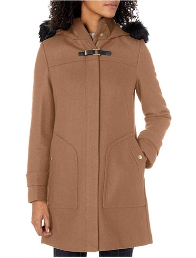 Cole Haan Duffle Coat with Faux-Fur-Trimmed Hood