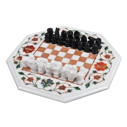 """12"""" Marble Chess Set"""
