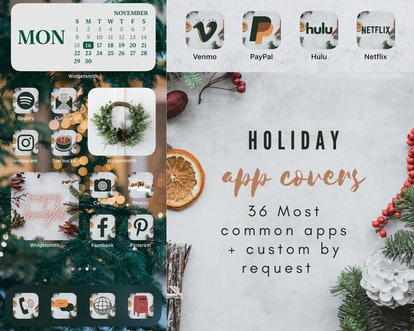 Merry & Bright Holiday iOS 14 Home Screen Design Pack