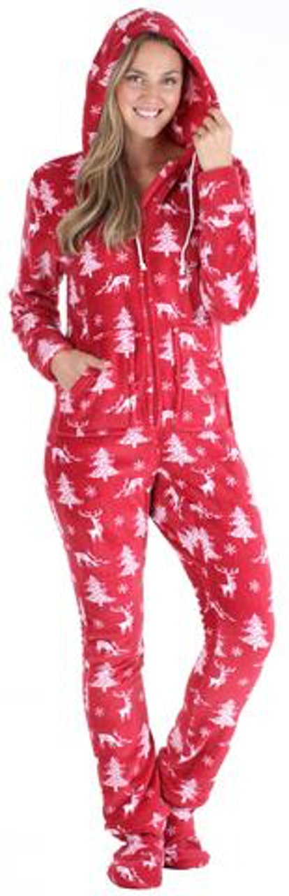 SleepytimePjs Family Matching Fleece Cranberry Deer Onesie Hooded Footed Pajama