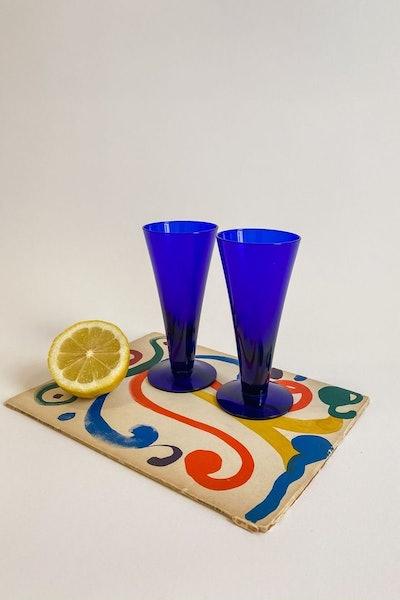 Blue Cornet Cocktail Glasses