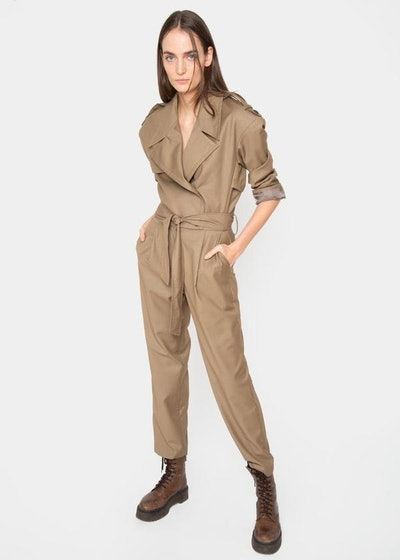 Padded Shoulder Trench Jumpsuit