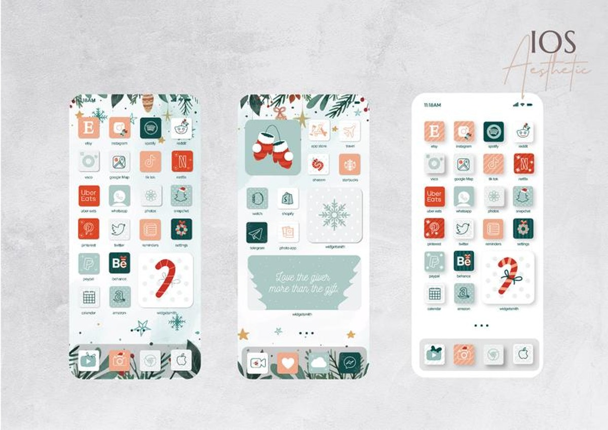 Pastel Aesthetic Holiday iOS 14 Home Screen Design Pack