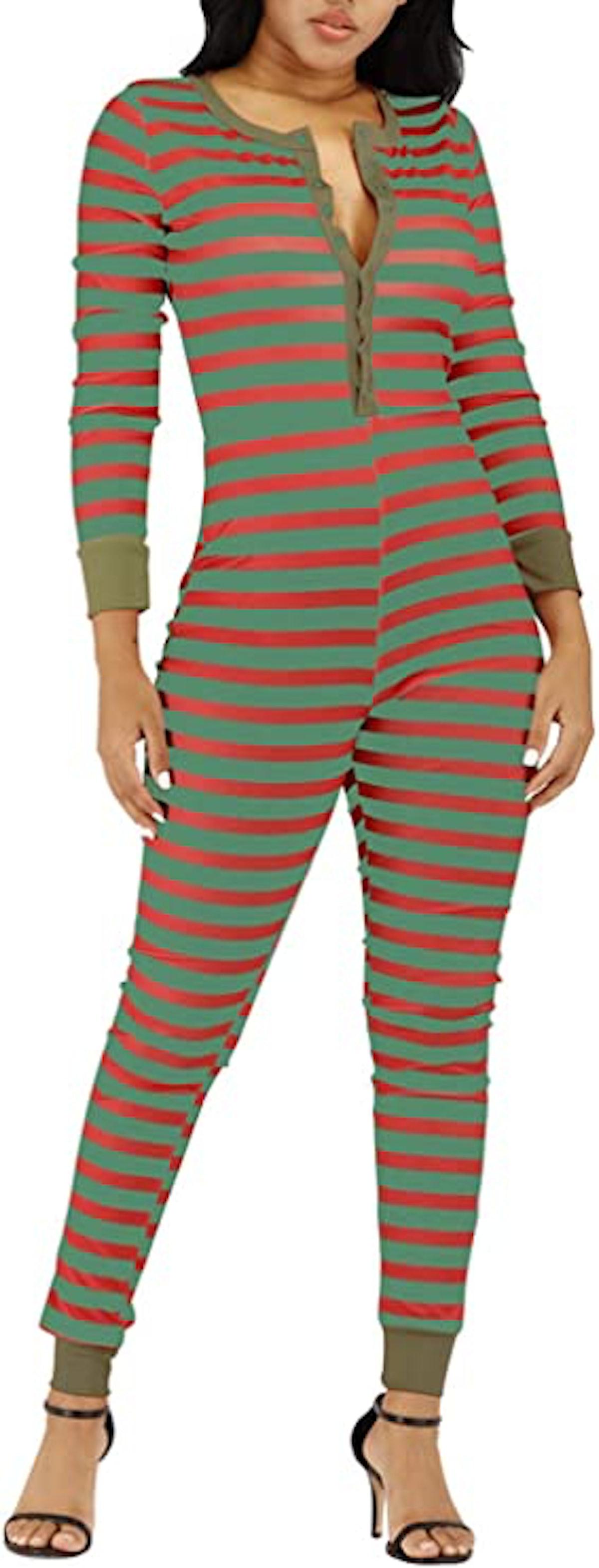 VNVNE Women's Petite Ugly Christmas Onesie Stripe Print One Piece Pajamas