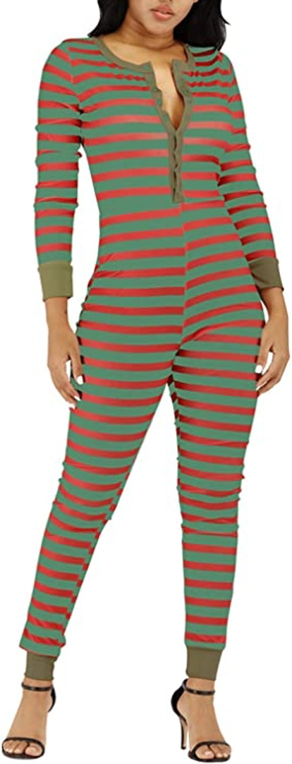 VNVNE Women's Petite Ugly Christmas Onesie Stripe Print One Piece Pajamas