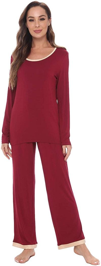 GYS Women's Sleepwear Long Sleeve Bamboo Pajama Set