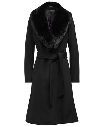 Wool-Blend Shawl Coat