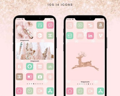 Pastel Pink Cute Aesthetic Holiday iOS Home Screen Design Pack