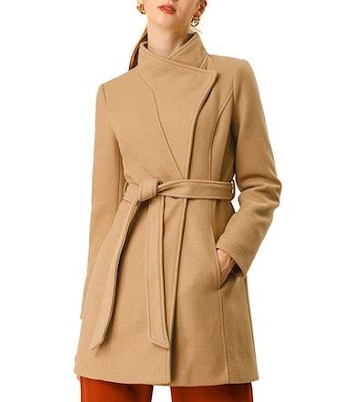 Allegra K Belted Long Coat