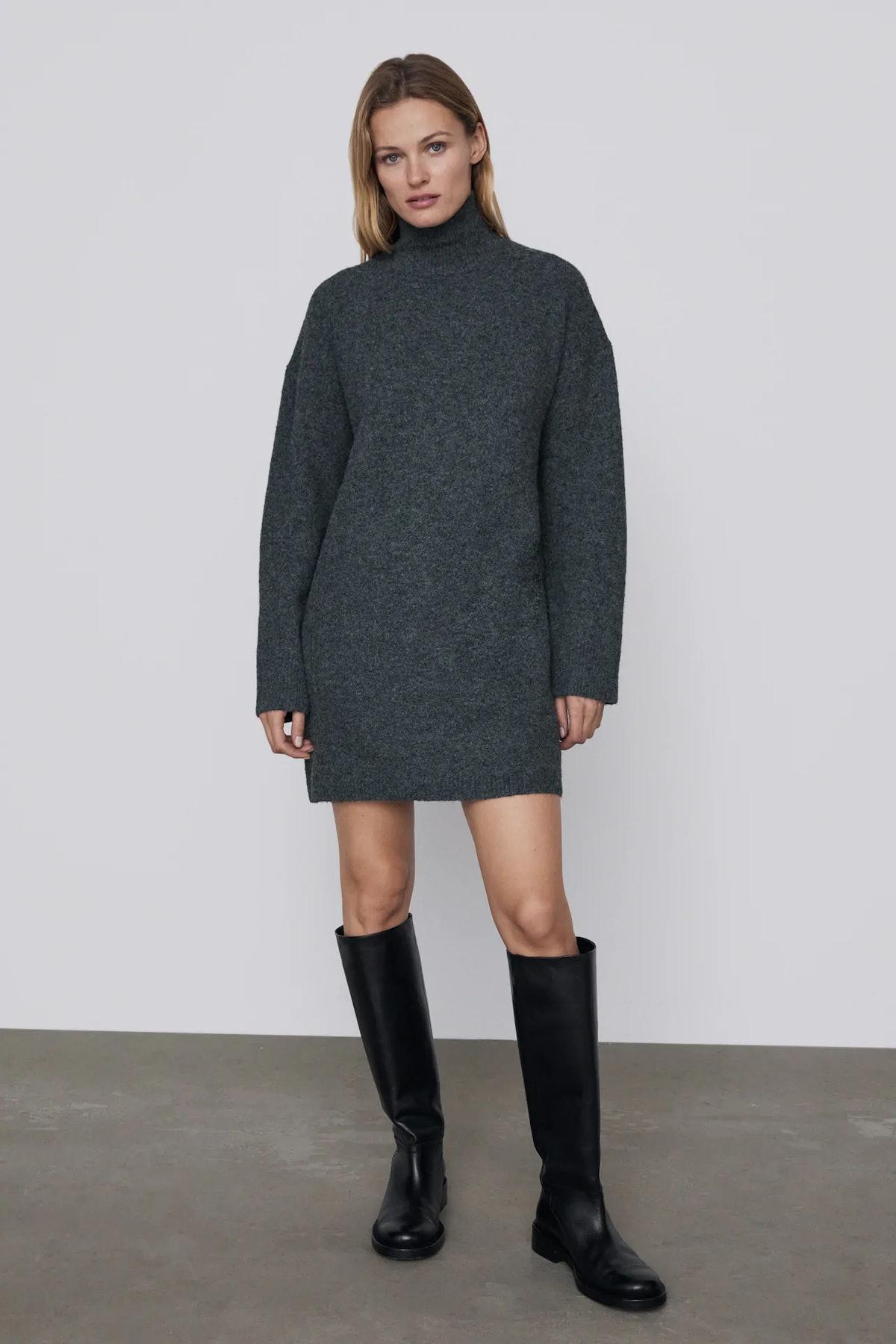 High Collar Knit Dress