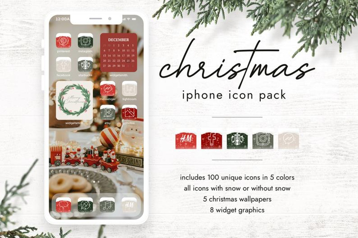Christmas Train & Snow iOS 14 Home Screen Pack
