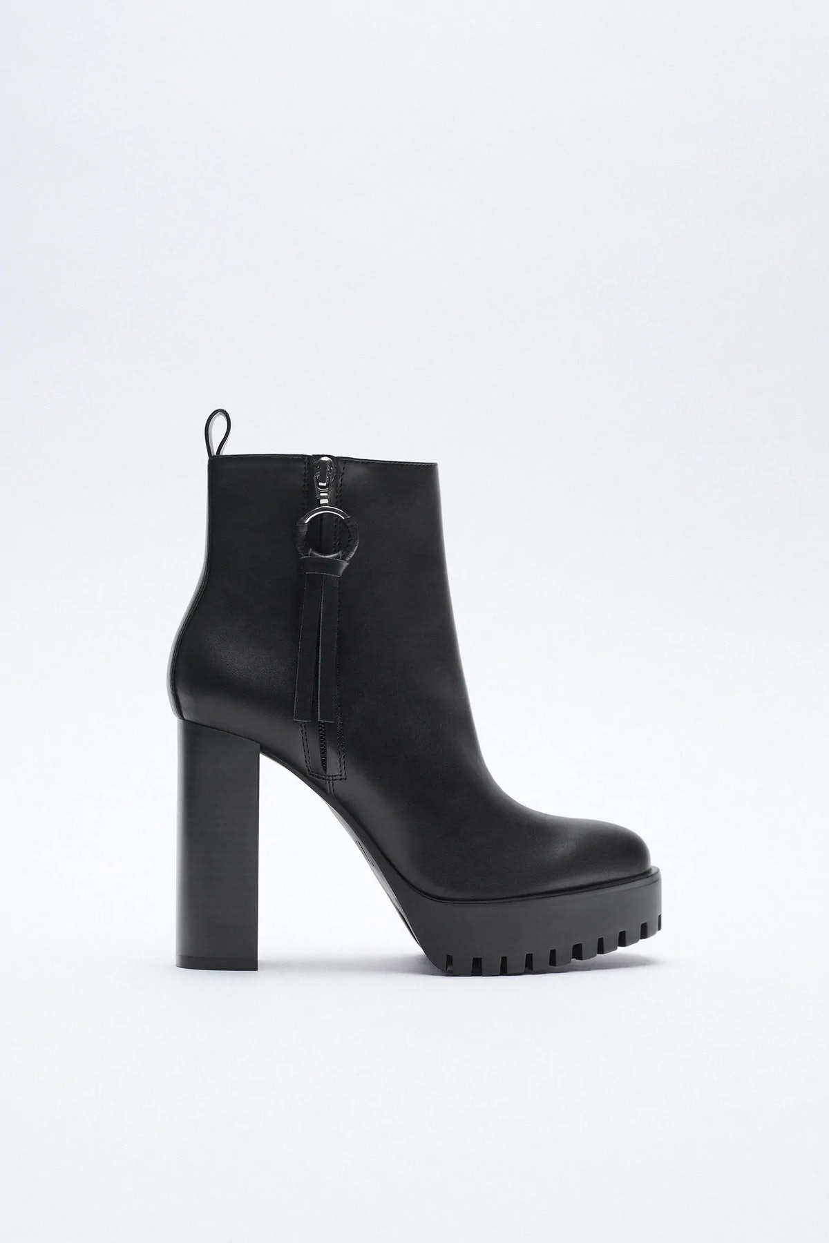 High Heeled Treaded Ankle Boots