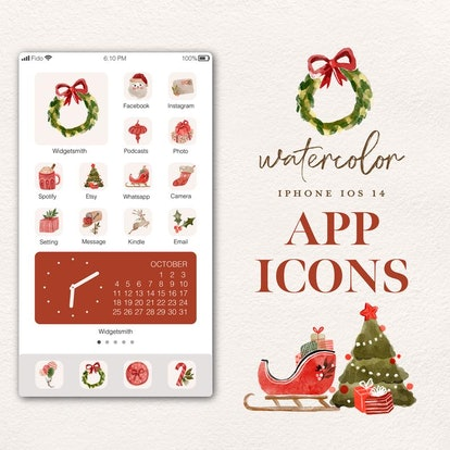Santa Clause & Reindeer Watercolor iOS 14 Home Screen Pack