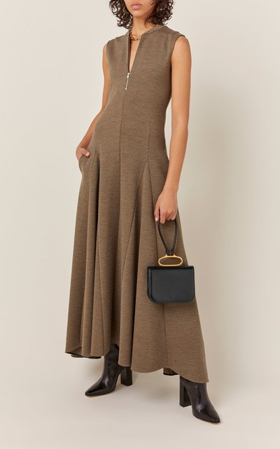 Nicole Zip-Detailed Wool Maxi Dress
