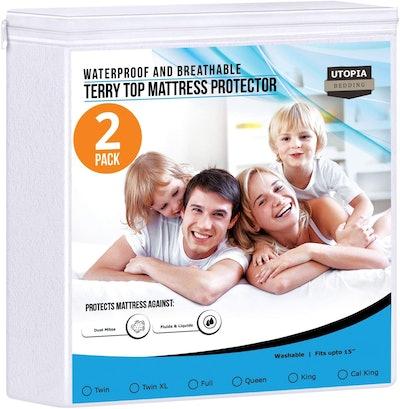 Utopia Bedding Waterproof Mattress Protector (2-Pack)