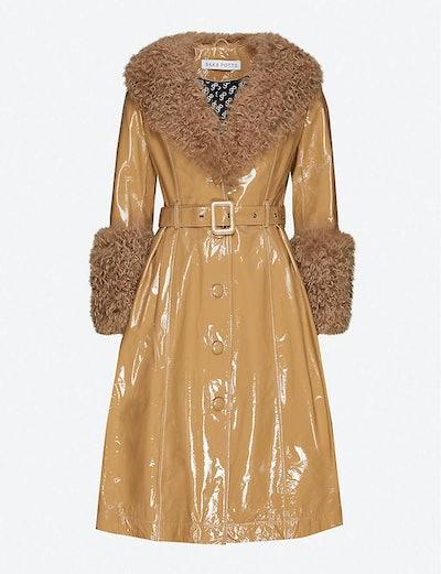 Foxy shearling-trim glossy-leather jacket