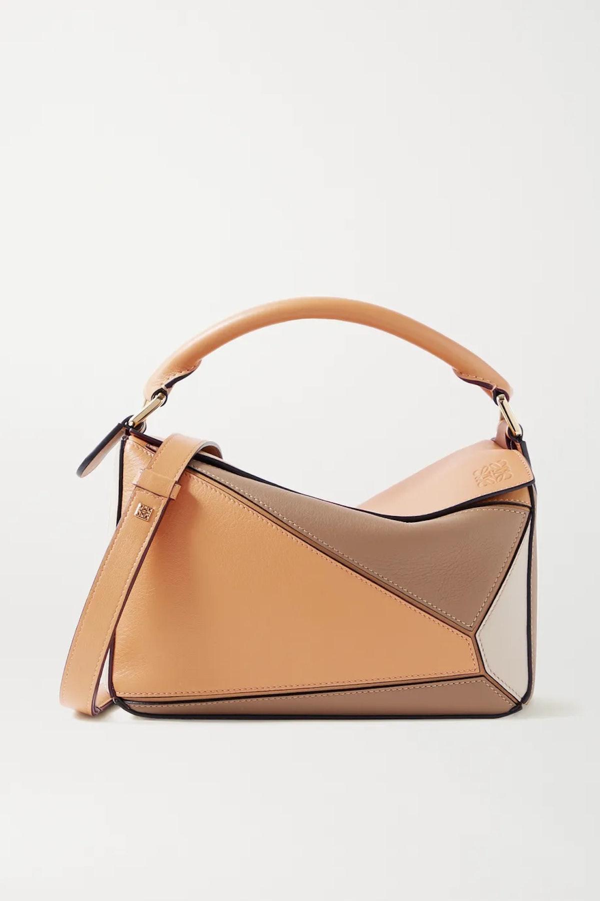Puzzle Small Color-Block Leather Shoulder Bag