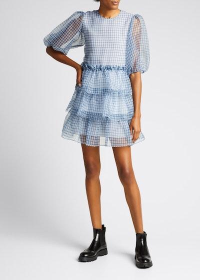 Check Organza Puff-Sleeve Tiered Ruffle Mini Dress